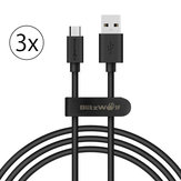3 x BlitzWolf® BW-CB7 2,4 A 3ft / 0,9 m Micro-USB-Ladedatenkabel mit Magic Tape Strap