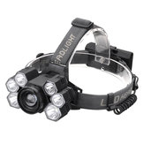 XANES 4101-7 With 2*18650 Battery 3500LM 3*T6+4*XPE LED Headlamp Mechanical Zoom USB Rechargeable