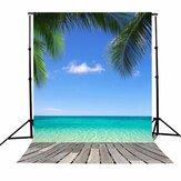 3x5FT Vinil Verão Azul Sky Praia Coco Fotografia Cenário de Fundo Estúdio Prop