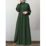 Women 100% Cotton Solid Retro Mandarin Collar Puff Sleeve Button Up Long Sleeve Maxi Dress