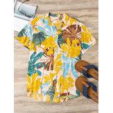 Hommes de bloc de couleur feuilles imprimer col rabattu Hawaii Beach Casual chemises à manches courtes