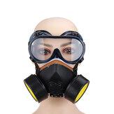 Doppio filtro per gas Maschera Vernice spray chimica Olio Protezione dalla polvere di fumo Maschera con occhiali