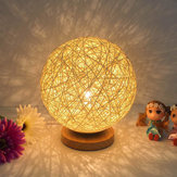 Rattan Ball Night Light Table Bedside Lamp Soveværelse Home Decor Valentine Gift