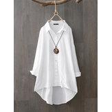 100% хлопок повседневные однотонные рубашки со свободными лацканами для Женское