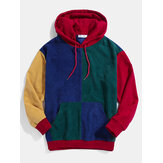 Mens Retro Color Block Patchwork Corduroy Drawstring Hoodies
