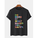 100% Cotton Colorful Slogan Print Short Sleeve Breathable T-Shirts