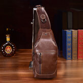 Men Genuine Leather First-layer Leather Bag Casual Multi-carry Shoulder Bag Chest Bag