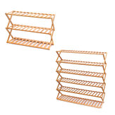 3/6 Tier Folding Bamboo Shoe Rack Organizer Stand Storage Shelf Home Office