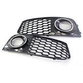 Çifti Parlak Siyah Ön Tampon Sis Işık Grille Grill Kapak Için Audi A4 B8 RS4 tarzı 2009-2012