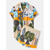 Banggood Design Tropical Leaves Print Color Block Drawstring Short Sleeve Casual Two Piece Sets