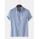 Mens Casual Striped Design Pocket Short Sleeve Cotton Shirts