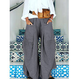 Wide Legged Women Elastic Waist Pure Color Pockets Pants