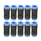 10Pcs Air Pneumatic OD 1/4 Inch Straight Union Push para conectar o encaixe