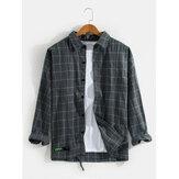 Camisas de lapela de manga comprida com estampa xadrez vintage masculina