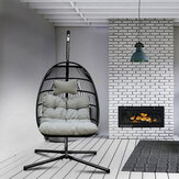 KCASA Rattan Swing Chair with light Grey Chair Pad Mat Outdoor Indoor Wicker Tear Drop Hanging Lifts