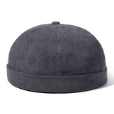 Heren Dames Winter Corduroy Verstelbare Franse Brimless Hoeden Mode Skullcap Sailor Cap