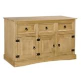 Solidna meksykańska komoda z drewna sosnowego 3 drzwiowa drewniana szafka do salonu