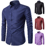 Hombres de la moda de algodón de color sólido Turn-Down Collar Casual camisa de manga larga