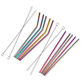 7PCS Premium Stainless Steel Metal Drinking Straw Reusable Straws Set With Cleaner Brushes