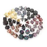 Beutiful اللون النرد متعدد السطوح المعدنية متعددة النرد النرد مجموعة ل dnd rpg mtg لعب لعبة الطاولة مع كيس القماش