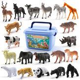 58 stuks multi-style dier plastic actiefiguren set decoratie speelgoed met doos voor kinderen cadeau