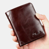 Men Genuine Leather Retro Bifold Thick RFID Anti-theft Card Holder Coin Purse Money Clip Cowhide Wallet