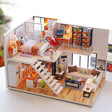 Loft Apartments Miniature Dollhouse Wooden Doll House Furniture LED Kit Christmas Birthday Gifts