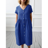 Pure Color Short Sleeve V Neck Button Casual Shirt Dress
