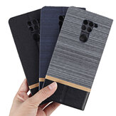 Bakeey Flip Stand Steel Layer Canvas Pattern with Lens Protector PU Leather Full Body Protective Case for Xiaomi Redmi Note 9 / Redmi 10X 4G Non-original