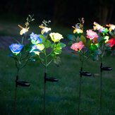 Solar Powered 4LED Artificial Rose and Bee Lawn Lamp Simulation Flower Landscape Garden Solar Light