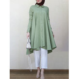 Women Solid Color Irregular Hem Abaya Kaftan Retro Casual Blouse