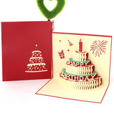 1Pcs Cake Shape Vintage Creative Greeting Cards Birthday Gift Card
