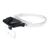Lupa de cabeça de LED Óculos Lentes intercambiáveis 5 substituíveis 1.0X / 1.5X / 2.0X / 2.5X / 3.5X Lupa farol Dental Lupas