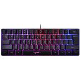 HXSJ V700 61 Keys Gaming Keyboard Wired RGB Backlit Multiple Shortcut Keys Mini Membrane Keyboard for Home Office