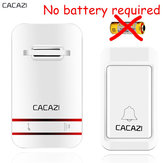 CACAZI Wireless Doorbell No Battery Need Waterproof Doorbell Cordless Remote AC 110V-220V EU US Plug
