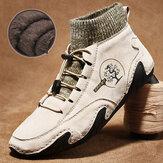 Erkekler El Yapımı Kaymaz Soft Sıcak Peluş Astar Çorap Ayak Bileği Botlar