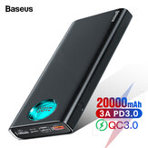 Baseus 20000mAh Power Bank 3 Outputs and 3 Inputs 18W USB-C PD3.0 Support QC3.0 FCP SCP LED Digital Display External Power Bank