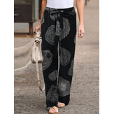 Tocón de árbol Círculo Imprimir Algodón Cintura elástica Bolsillos laterales Mujer Ocio Pantalones