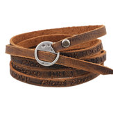 Punk Leather Wristband Simple Word Multilayer Bracelet
