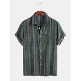 Herren Vintage Colorful Striola Design Atmungsaktive Kurzarm-Freizeithemden