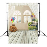 3x5ft Bear Indoor Wood Floor Kid Studio Photography Background Cloth Backdrop