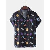 Mens Star Spaceship Cartoon Printing Breathable Short Sleeve Casual Shirts