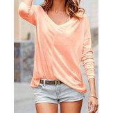 Plus Tamaño Casual Color sólido con cuello en v Camisetas de manga larga