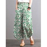 Bolsos femininos com estampa de folhas vintage cintura elástica Calças
