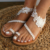 Women Bohemia Toe Ring Slip On Casual Summer Flat Sandals