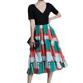 Floral Chiffon Patchwork V-neck Loose Hem Vintage Dresses