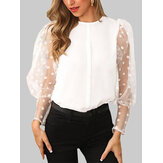 Polka Dot Lace Patchwork Puff Sleeve O-Neck Blusa