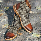 Botas masculinas estilo britânico com capuz e tornozelo