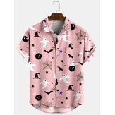 Banggood Diseño Halloween Cartoon Print Turn Down Collar Camisas cortas
