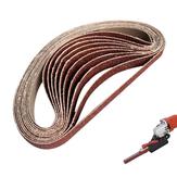 Drillproアングルグラインダーサンディングベルトアダプター用10個60〜600グリット15mmx452mmサンディングベルト